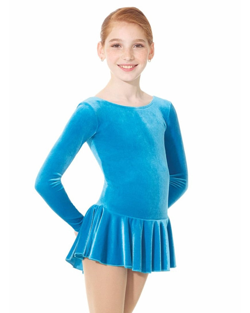 Mondor Born To Skate Velvet Skating Dress - 2850C Girls - Turquoise - Dancewear - Skating - Dancewear Centre Canada