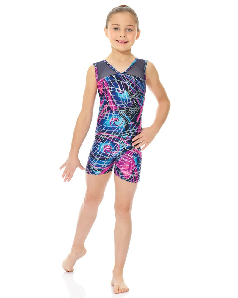 Mondor Combination Print Gymnastic Mesh Tank Biketard - 17816C Girls - Dancewear - Gymnastics - Dancewear Centre Canada