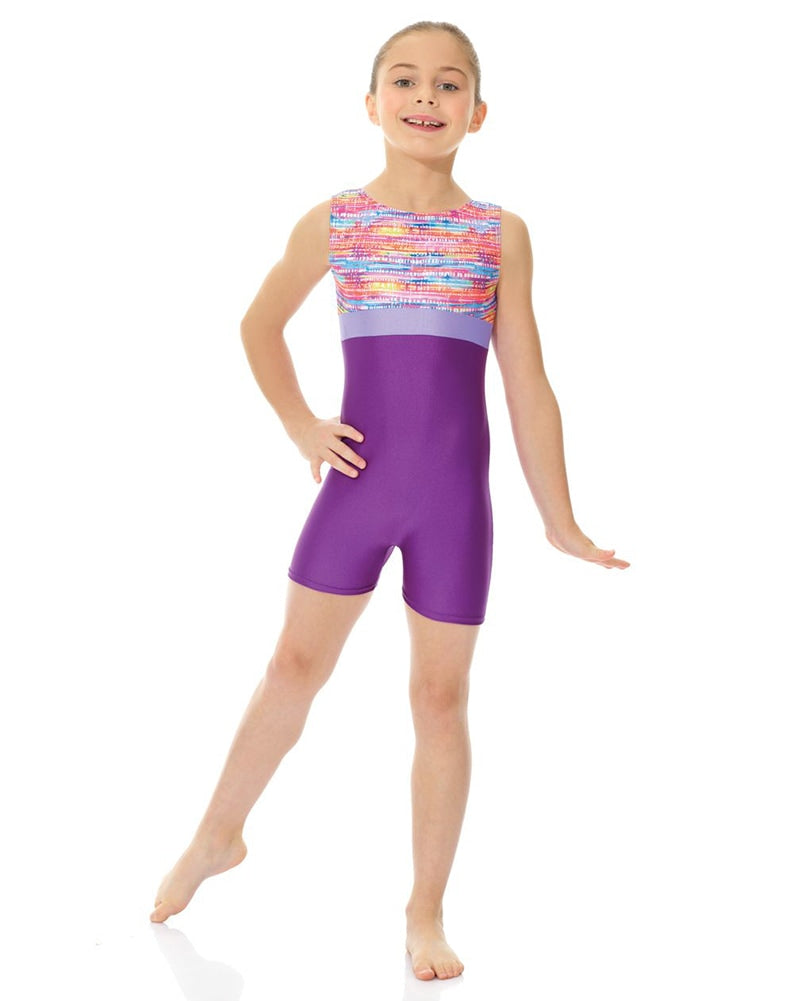 Mondor Combination Print Gymnastic Tank Biketard - 27841C Girls - Dancewear - Gymnastics - Dancewear Centre Canada