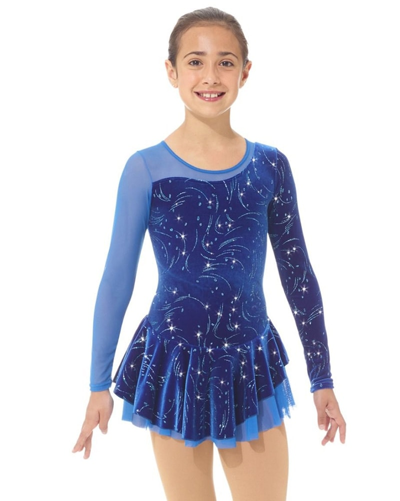 Mondor Fantasy On Ice Mesh Long Sleeve Skating Dress - 12930C Girls - Blizzard Print