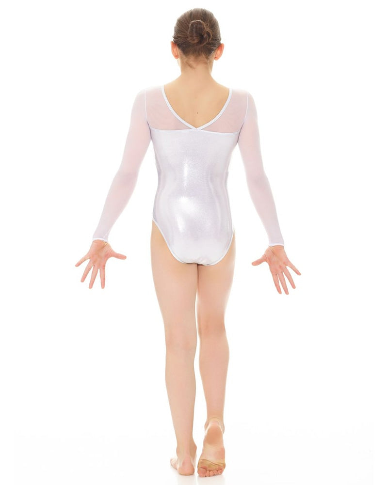 Mondor Metallic Mesh Long Sleeve Gymnastics Leotard - 17890 Girls