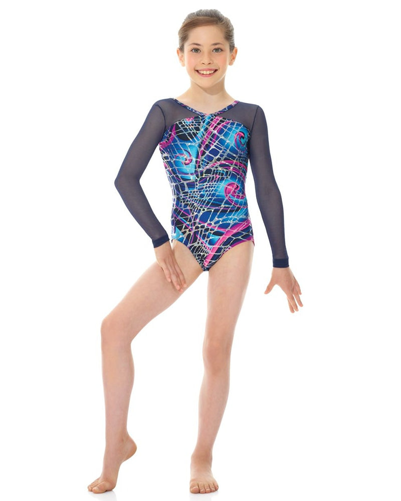 Mondor Metallic Mesh Print Long Sleeve Gymnastics Leotard - 17818 Girls - Dancewear - Gymnastics - Dancewear Centre Canada