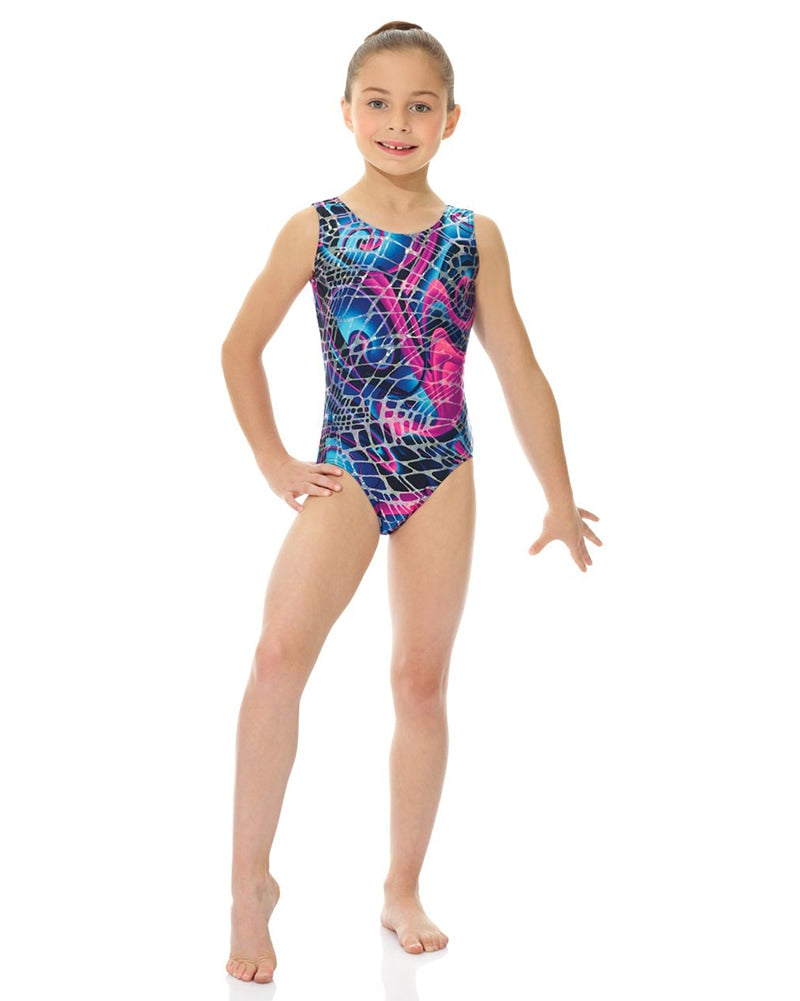 Mondor Metallic Print Gymnastic Tank Leotard - 27822C Girls