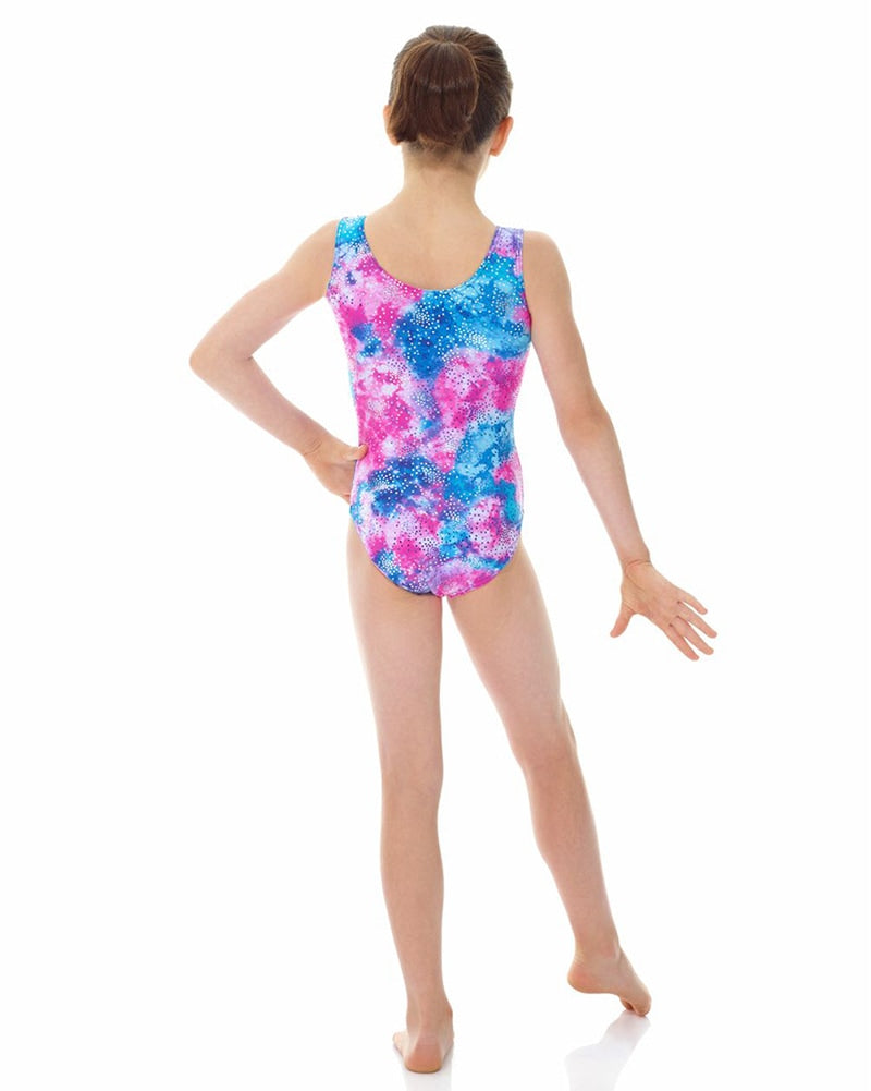 Mondor Metallic Print Gymnastic Tank Leotard - 7822C Girls - Print