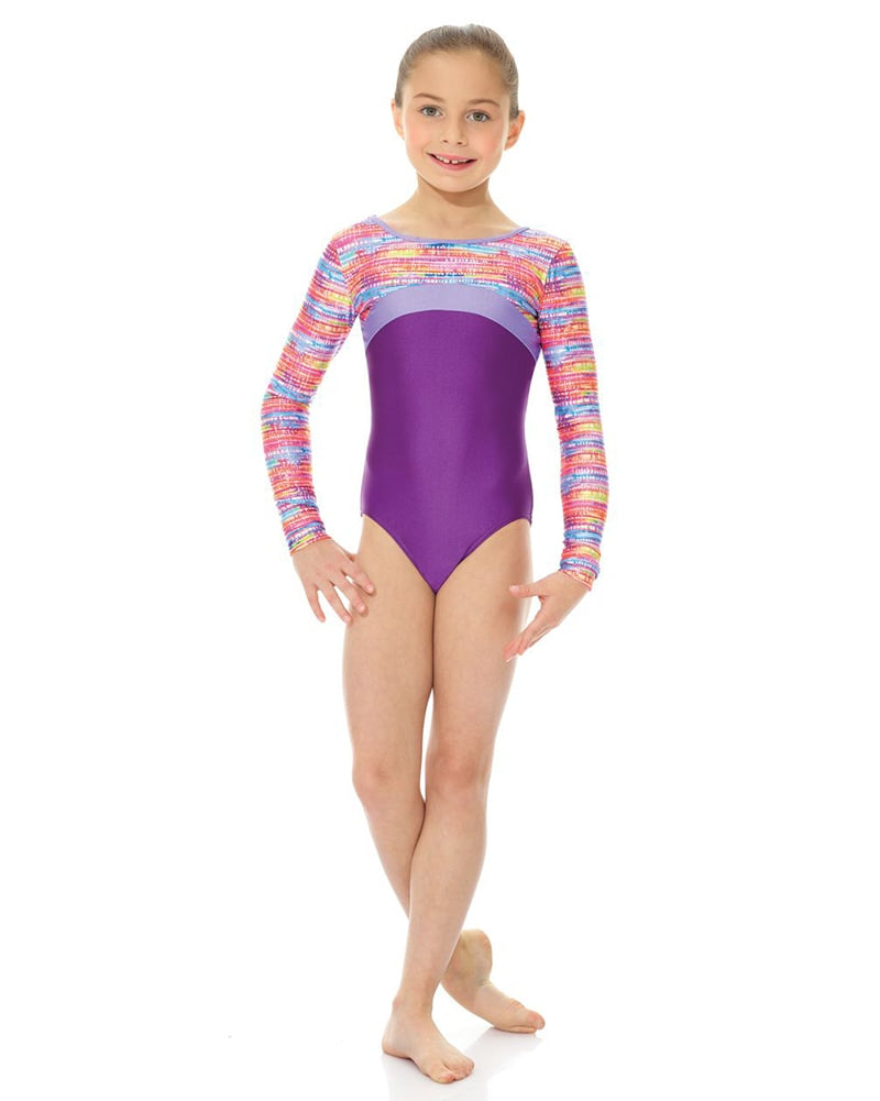 Mondor Printed Cross Panel Gymnastic Long Sleeve Leotard -27848C Girls - Dancewear - Gymnastics - Dancewear Centre Canada