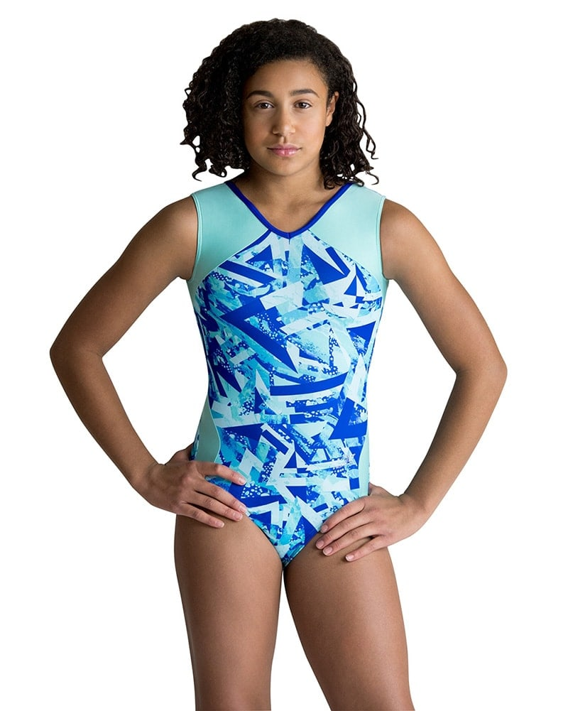 Motionwear Two Tone V-Neck Gymnastic Tank Leotard - 1426 Girls