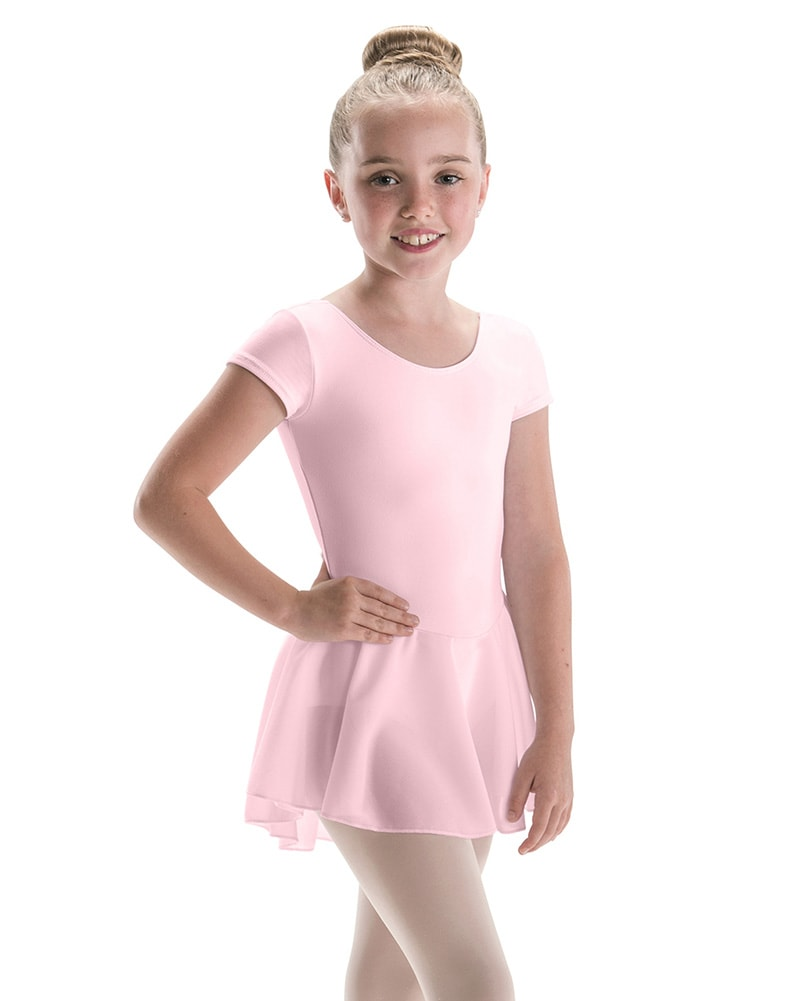 Motionwear Classic Cut Bow Back Silkskyn Short Sleeve Ballet Dress - 4370C Girls