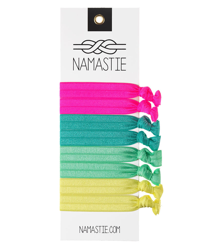 Namastie Yogi Hair Tie 8 Pack - Jogger Neon - Accessories - Hair Care - Dancewear Centre Canada