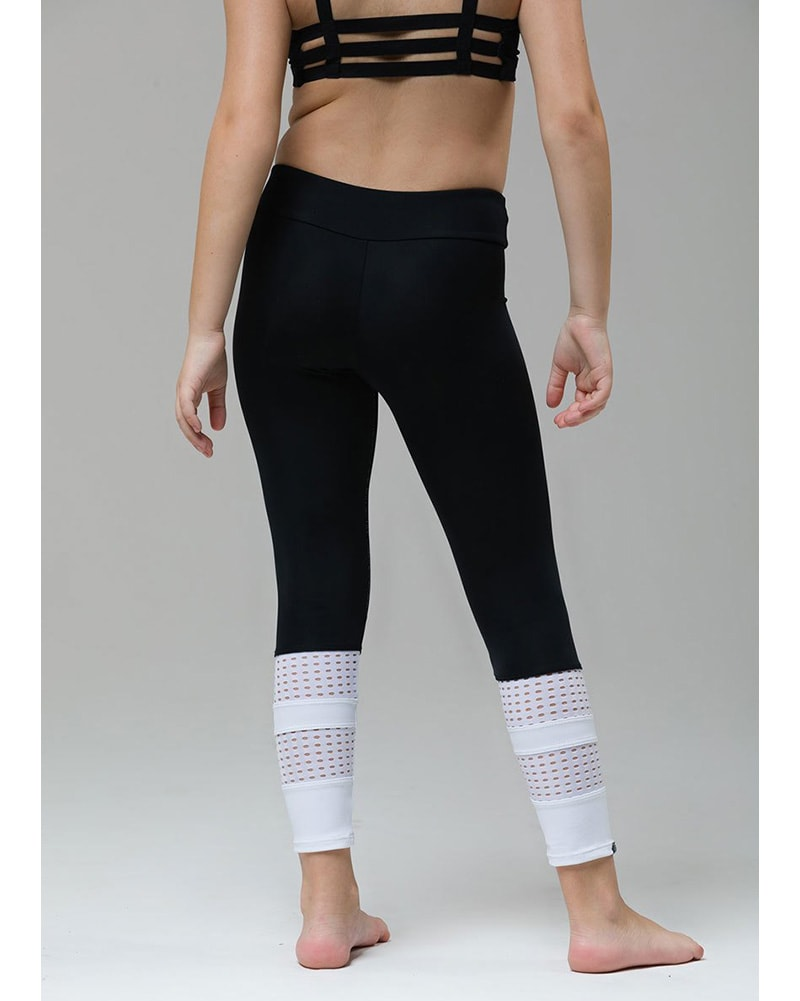 Onzie 8028 - Youth Racer Legging Black White Combo Girls - Activewear - Bottoms - Dancewear Centre Canada