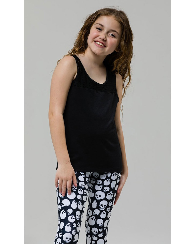 Onzie Youth Peep Tank - 851 Girls - Black - Activewear - Tops - Dancewear Centre Canada