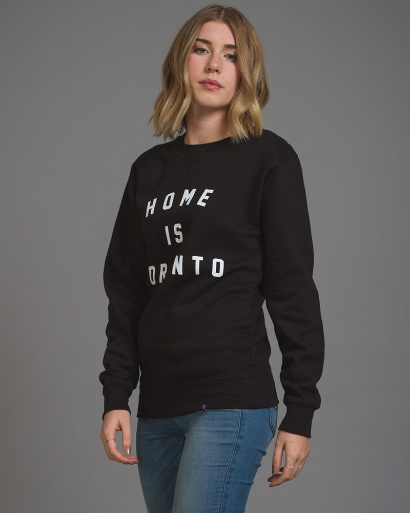 Peace Collective - Home Is Toronto Varsity Crewneck Sweatshirt Black Womens