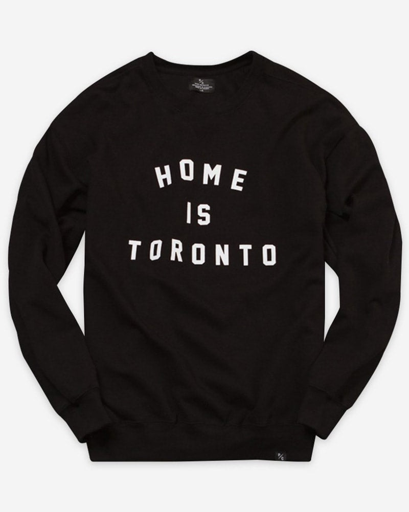 Peace Collective Home Is Toronto Varsity Crewneck Sweatshirt - Womens - Black