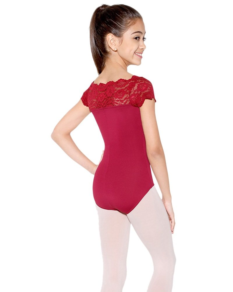 So Danca SL17 - Tilly Stretch Lace Cap Sleeve Leotard Girls - Dancewear - Bodysuits & Leotards - Dancewear Centre Canada