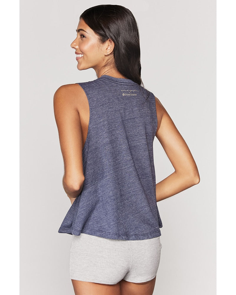 Spiritual Gangster Barre Crop Tank - Womens - Dusty Navy - Activewear - Tops - Dancewear Centre Canada