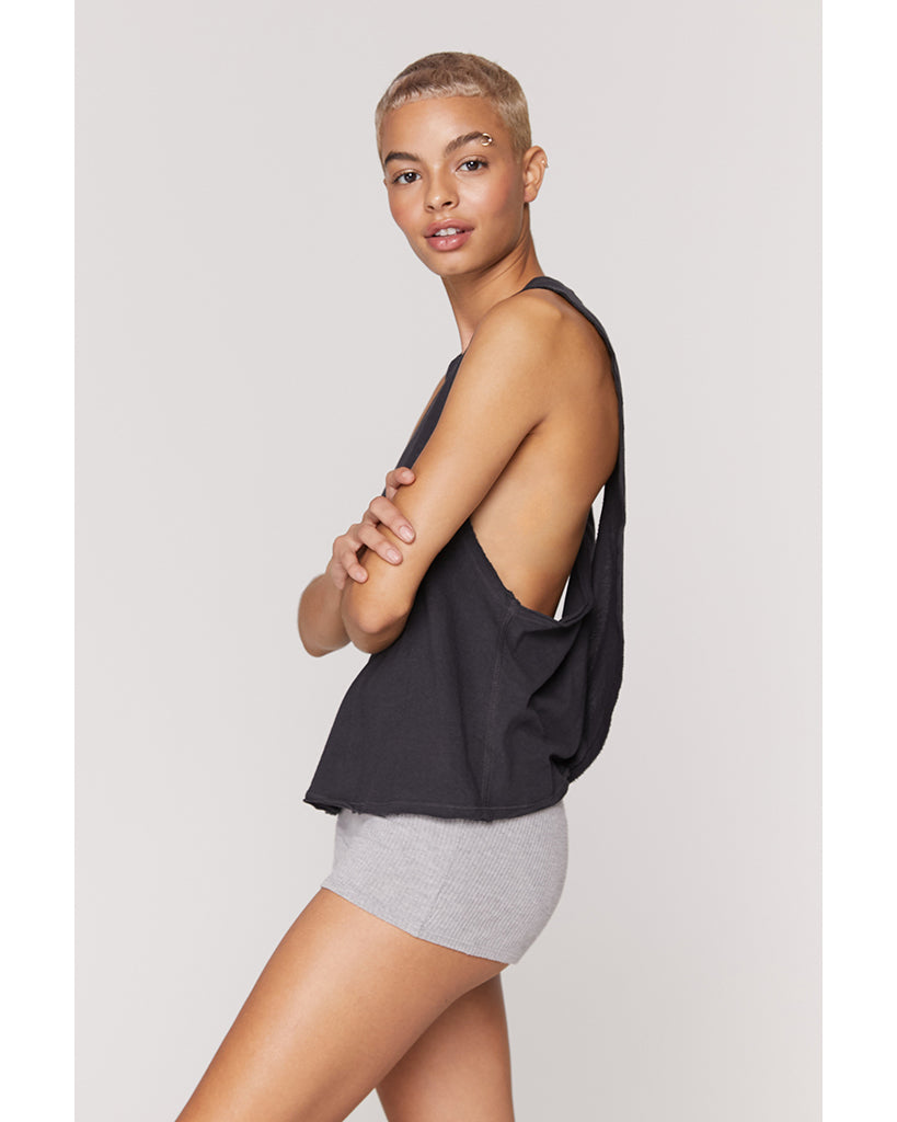 Spiritual Gangster Light Surplice Back Swing Tank - Womens - Vintage Black - Activewear - Tops - Dancewear Centre Canada