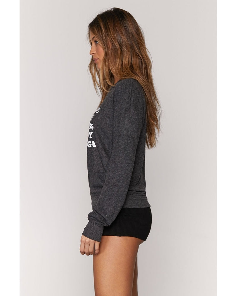 Spiritual Gangster More Love Crewneck Savasana Sweatshirt - Womens - Vintage Black - Activewear - Tops - Dancewear Centre Canada