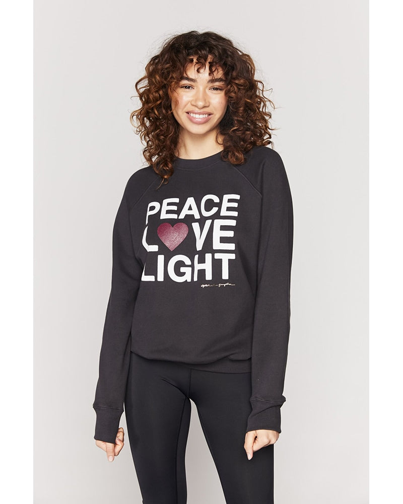 Spiritual Gangster Peace Classic Crew Sweatshirt - Womens - Vintage Black - Activewear - Tops - Dancewear Centre Canada