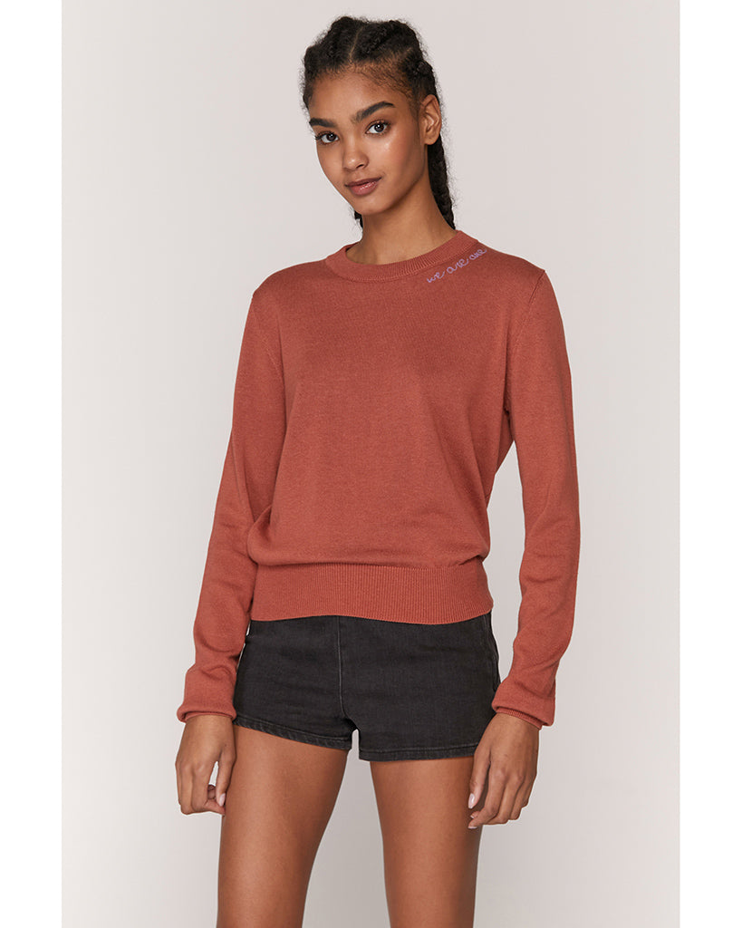 Spiritual Gangster We Are One Nikki Crop Sweater - Womens - Rust - Activewear - Tops - Dancewear Centre Canada