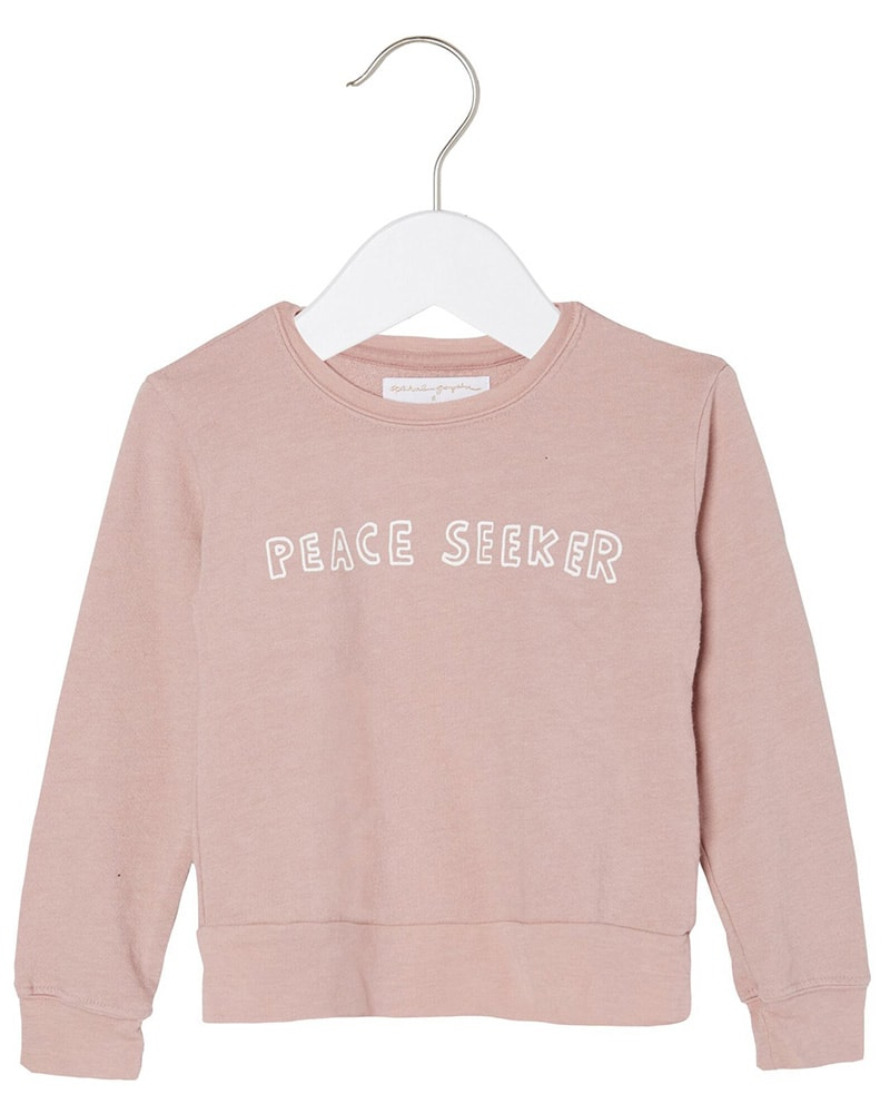 Spiritual Gangster Peace Seeker Crewneck Sweater - Girls - Pink Shell - Activewear - Tops - Dancewear Centre Canada