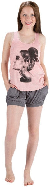 Sugar and Bruno Ballerina Portrait Racerback Tank Top - D7851 Womens - Heather Pink