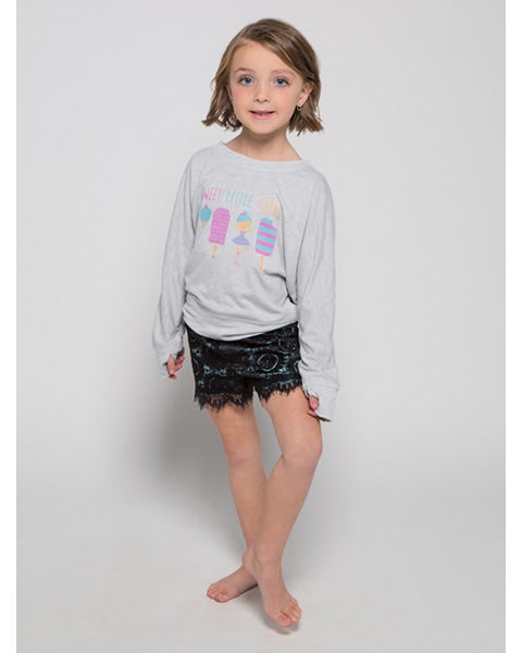 Sugar and Bruno Sweet Little Thing Slouchy Raglan Sweatshirt - D8012 Itty Bitty Girls - Light Heather Grey - Dancewear - Tops - Dancewear Centre Canada