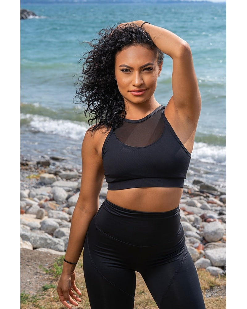 Tendu Active Black Swan Sports Bra - Womens - Black