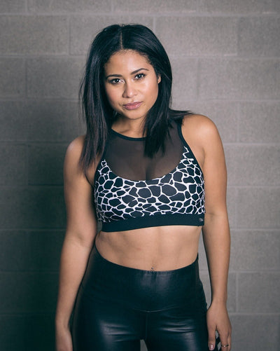 Tendu Active Knockout High Neck Mesh Insert Sports Bra - Womens - Giraffe Print - Activewear - Tops - Dancewear Centre Canada