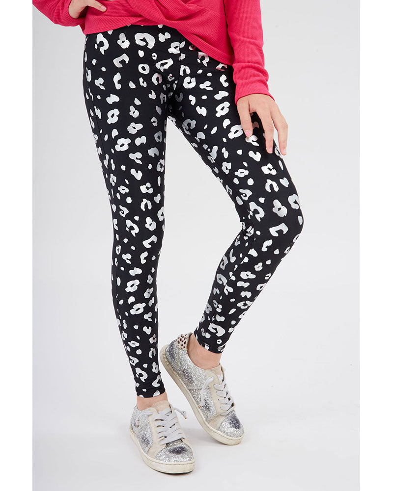 Terez Foil Printed Legging - 1426 Girls - Silver Cheetah Foil on Black - Activewear - Bottoms - Dancewear Centre Canada