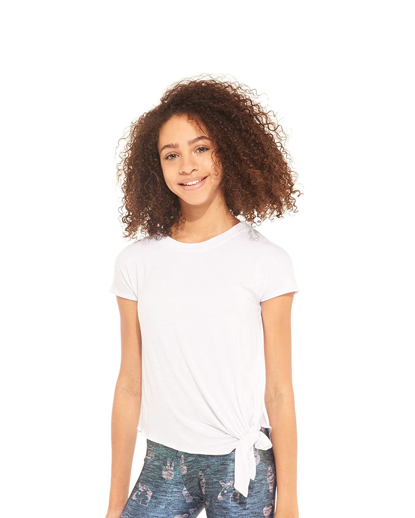 Terez Tie Front Detailed Tee - 1444 Girls - White - Activewear - Tops - Dancewear Centre Canada