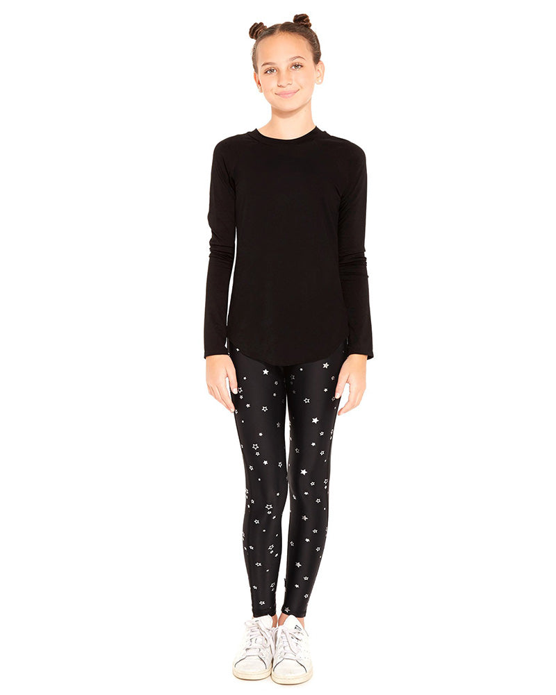 Terez Foil Print Legging - 1117 Girls - Mini Silver Stars/Black - Activewear - Bottoms - Dancewear Centre Canada