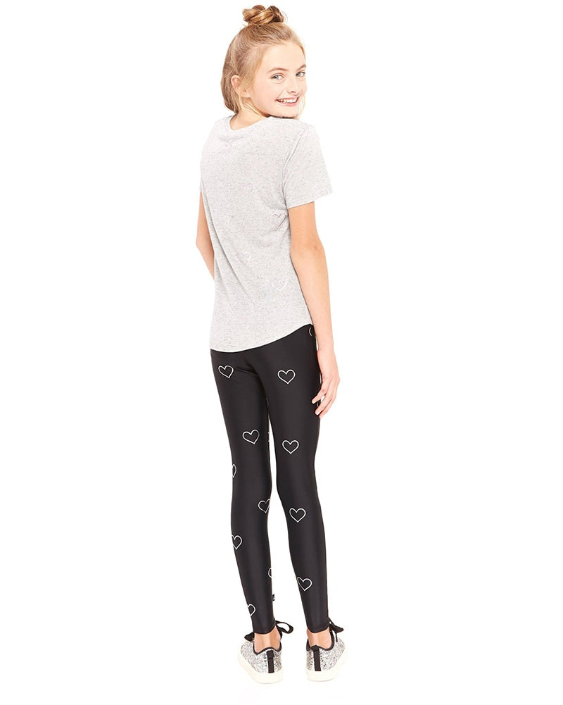 Terez 1117 - Silver Outline Hearts Foil Legging Black Girls - Activewear - Bottoms - Dancewear Centre Canada