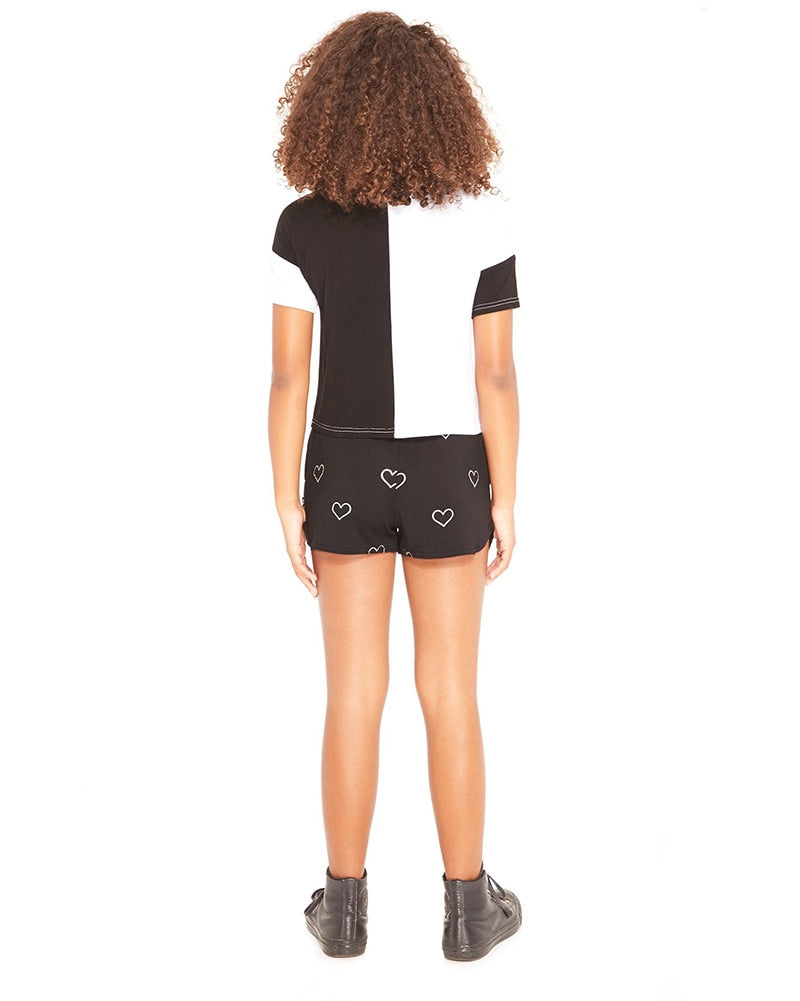 Terez Shorts - 1206 Girls - Silver Outline Hearts Foil/Black