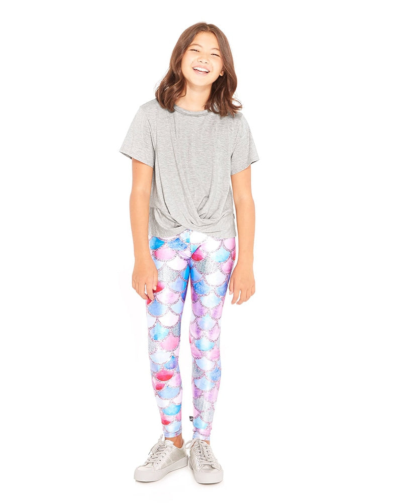 Terez Legging - 4-01 Girls - Mermaid Denim Print - Activewear - Bottoms - Dancewear Centre Canada