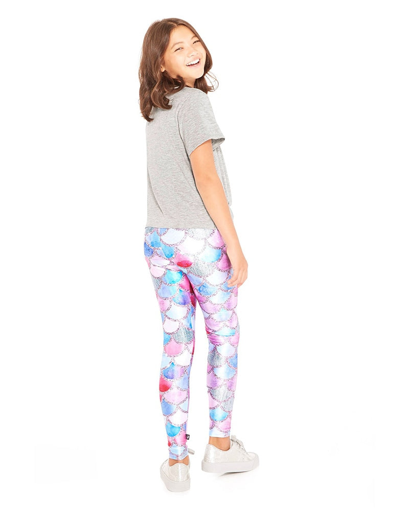 Terez 4-01 - Mermaid Denim Print Legging Girls - Activewear - Bottoms - Dancewear Centre Canada