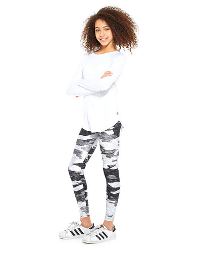 Terez Legging - 401 Girls - Heathered Grey Camo Print - Activewear - Bottoms - Dancewear Centre Canada