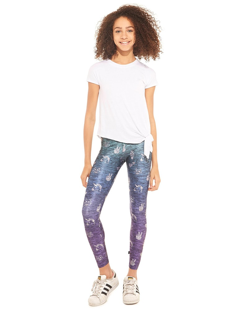 Terez Legging - 7943 Girls - Heathered Ombre Emoji Print - Activewear - Bottoms - Dancewear Centre Canada