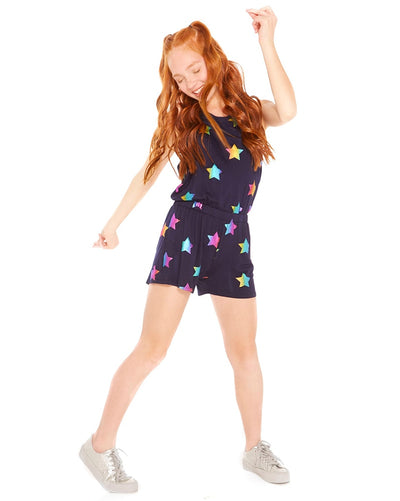 Terez Foil Romper - 1411 Girls -  Rainbow Stars Print/Navy - Activewear - Bottoms - Dancewear Centre Canada