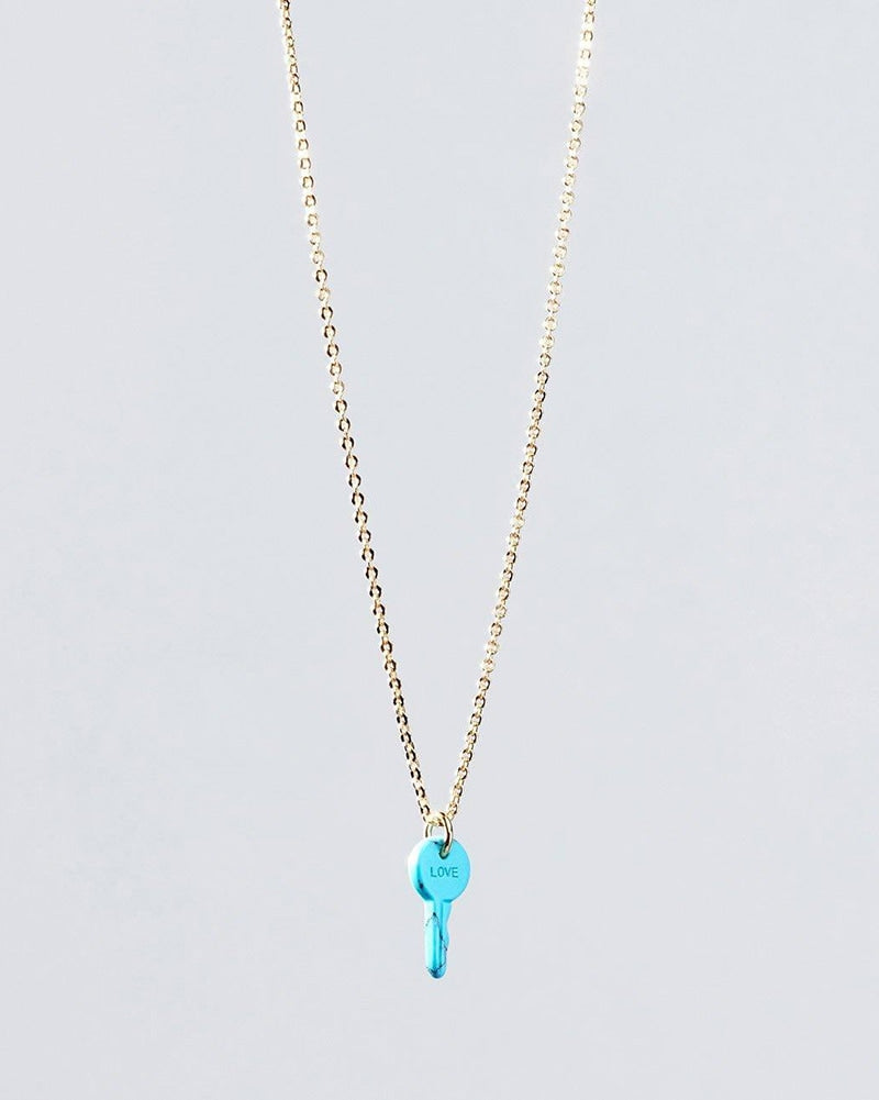 The Giving Keys Love Petite Stone Key Necklace - Turquoise - Accessories - Dance Gifts - Dancewear Centre Canada