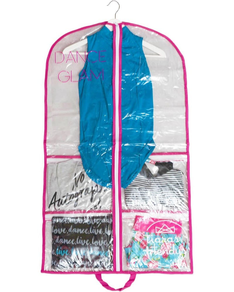 Tiaras + Tendus Dance Competition Clear Costume Garment Bag With Pockets
