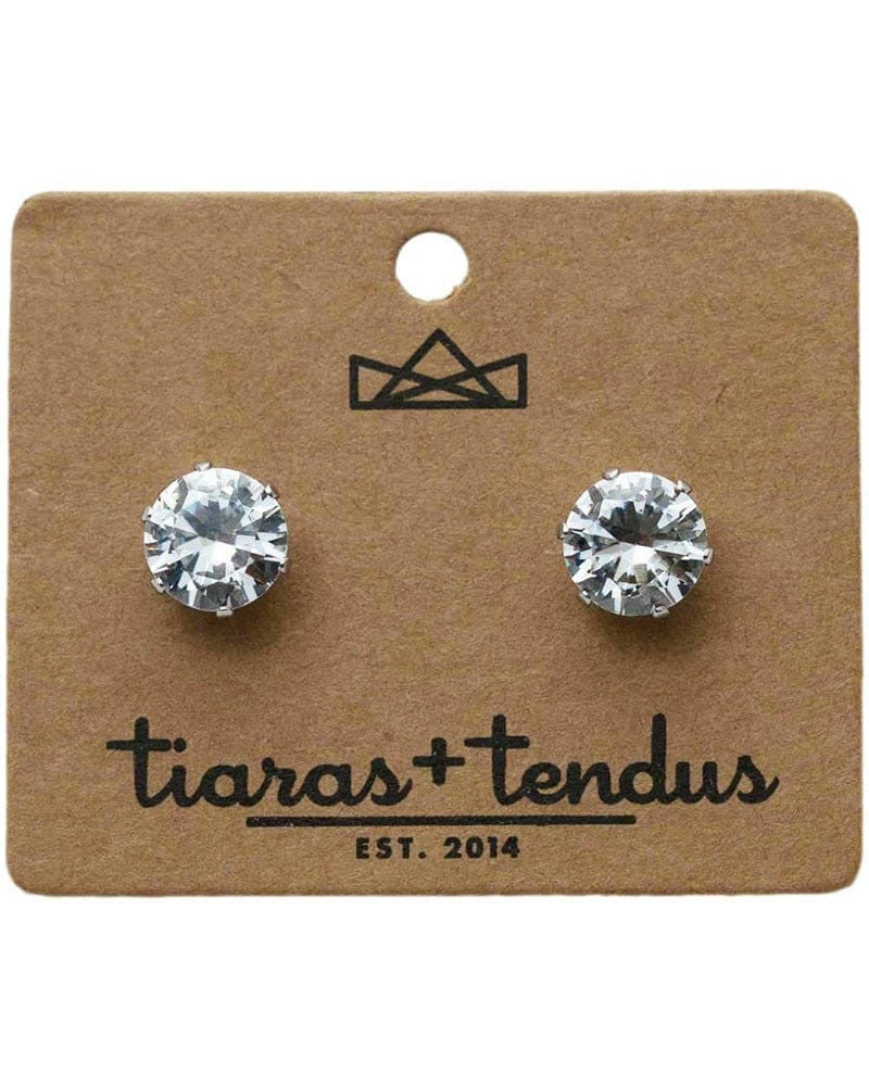 Tiaras + Tendus - 10mm Dance Competition Clip-On Rhinestone Earrings