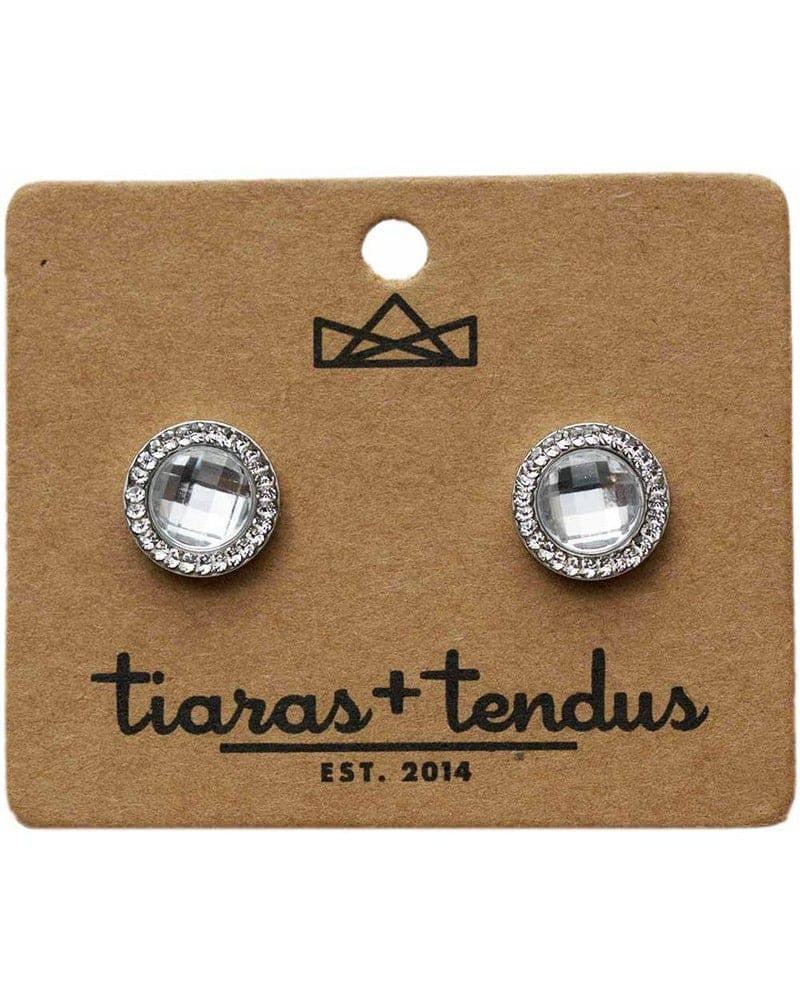 Tiaras + Tendus 12mm Dance Competition Round Clip-On Rhinestone Earrings