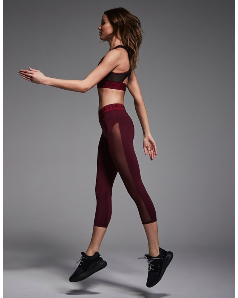 Varley Alden Cropped Side Mesh Legging - Womens - Raspberry - Activewear - Bottoms - Dancewear Centre Canada