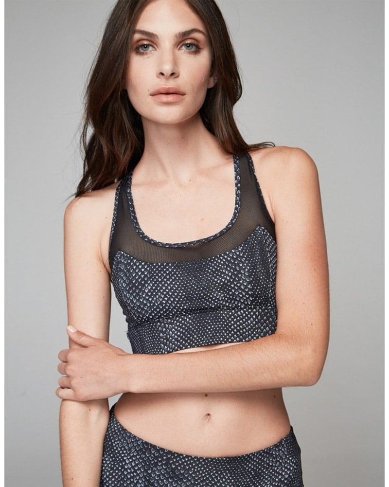 Varley Bandini Crop Sports Bra - Womens - Dark Moon Snake Print