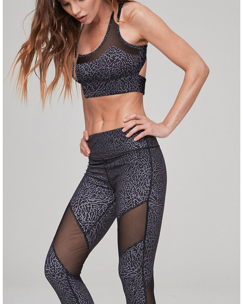 Varley Bandini Crop Sports Bra - Womens - Elephant Print - Activewear - Tops - Dancewear Centre Canada