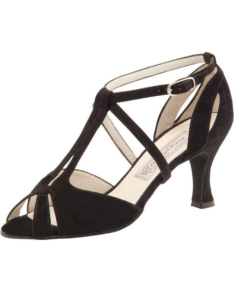Werner Kern Francis T-Strap Filigree Suede 6.5 cm Latin Ballroom Shoes - Womens - Dance Shoes - Ballroom & Salsa Shoes - Dancewear Centre Canada