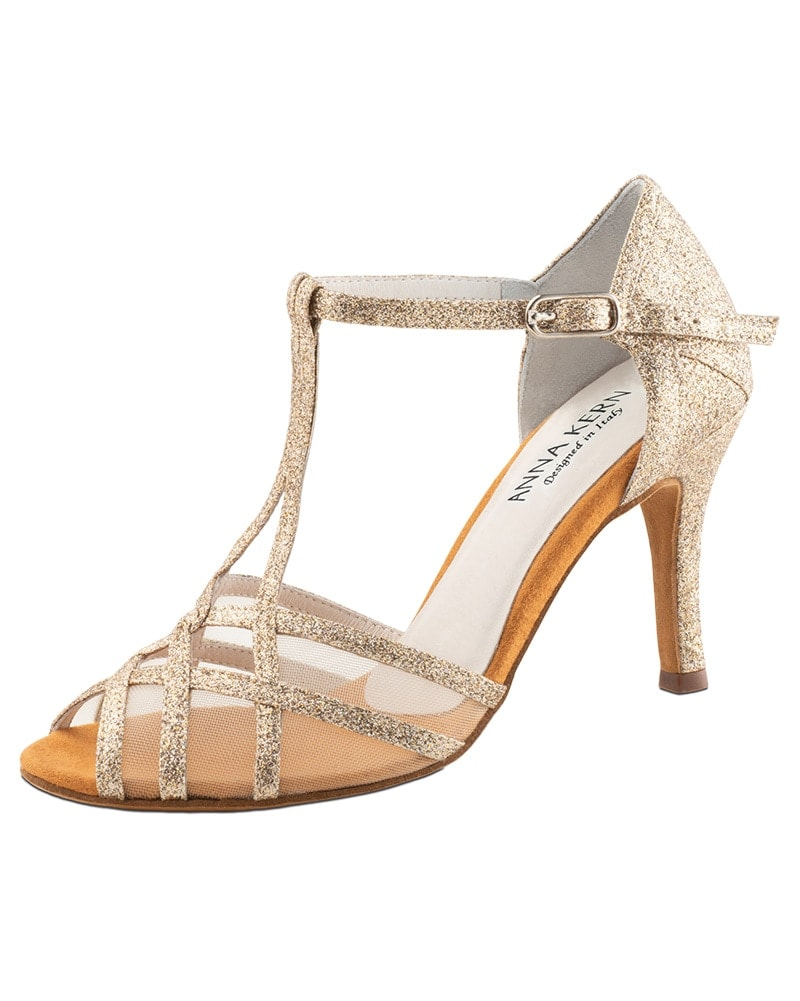 Werner Kern T-Strap Peep Toe Mesh Insert 7.5 cm Latin Ballroom Shoes - 870-75 Womens - Dance Shoes - Ballroom & Salsa Shoes - Dancewear Centre Canada