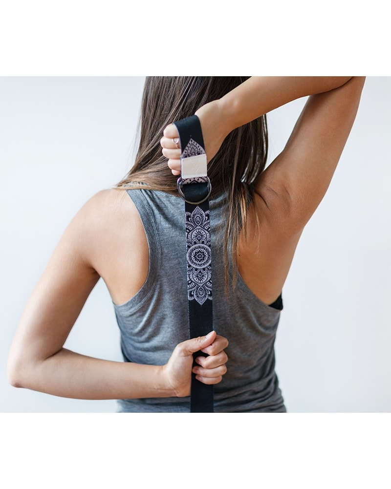 Yoga Design Lab Yoga Strap 240cm - Mandala Black Print