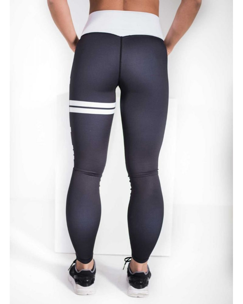 aimn - Black Stripe High Waist Legging Womens