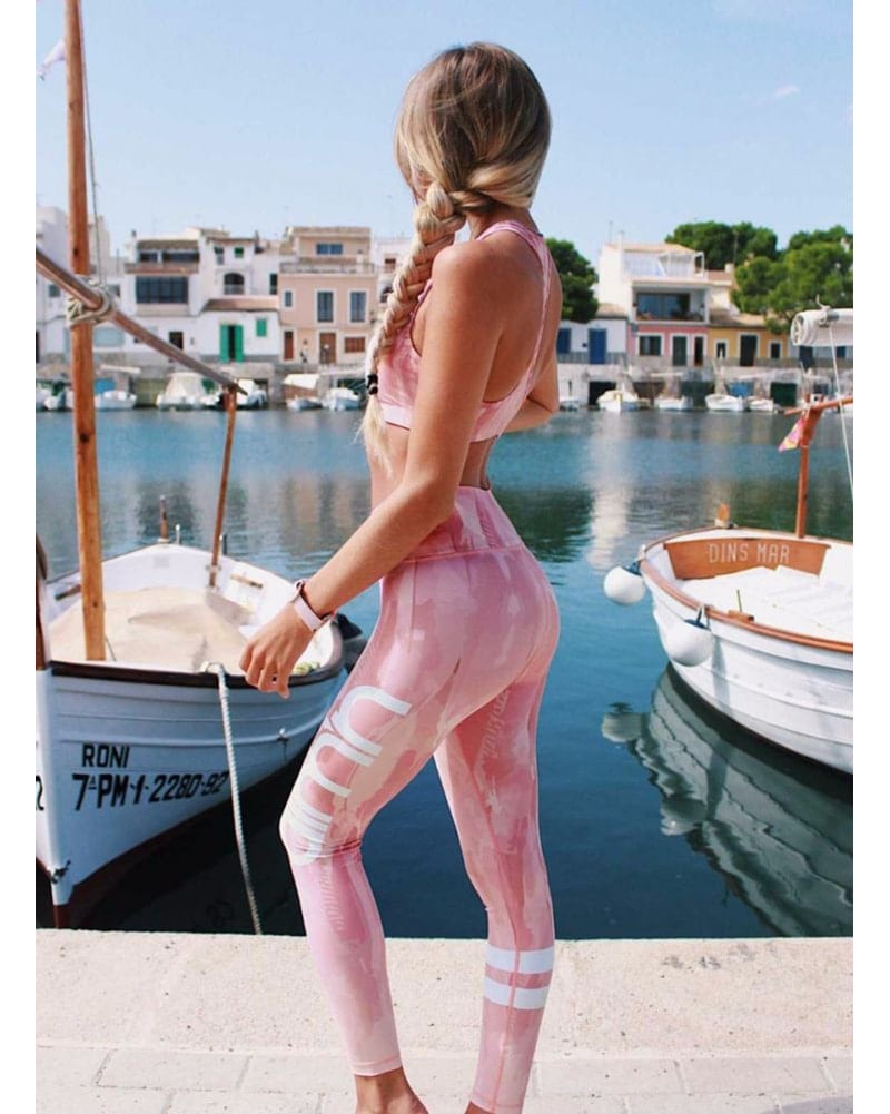 aimn High Waisted Legging - Womens - Dusty Pink Feather - Activewear - Bottoms - Dancewear Centre Canada