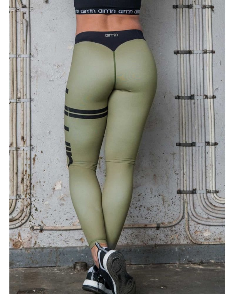 aimn Stripe Legging - Womens - Ivy Green - Activewear - Bottoms - Dancewear Centre Canada